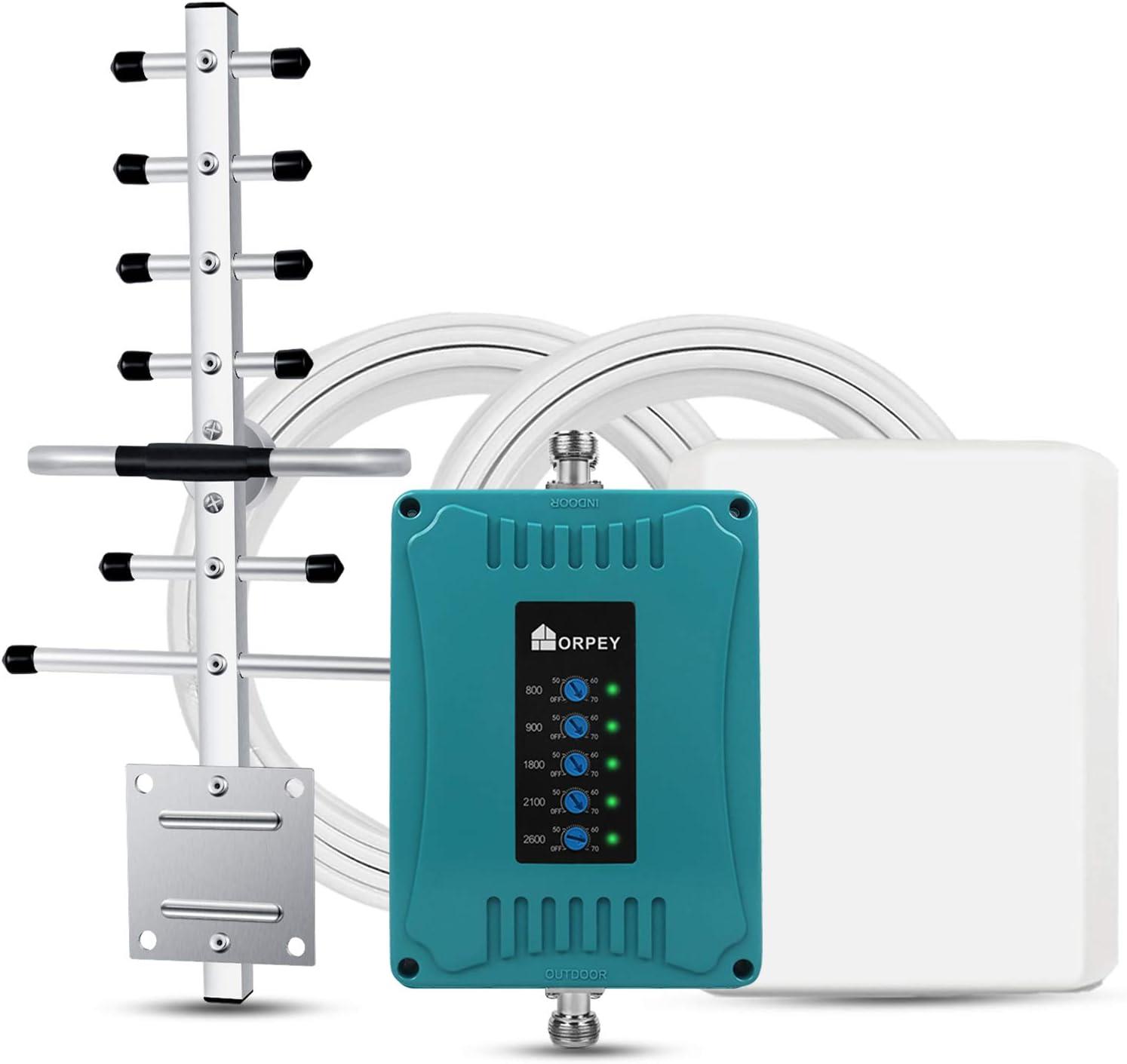 ORPEY Amplificador Señal Móvil 5-Banda 800/900/1800/2100/2600MHz Repetidor 2G 3G 4G para Obtengar Llamadas, Señal 3G y 4G en Su Casa y Oficina