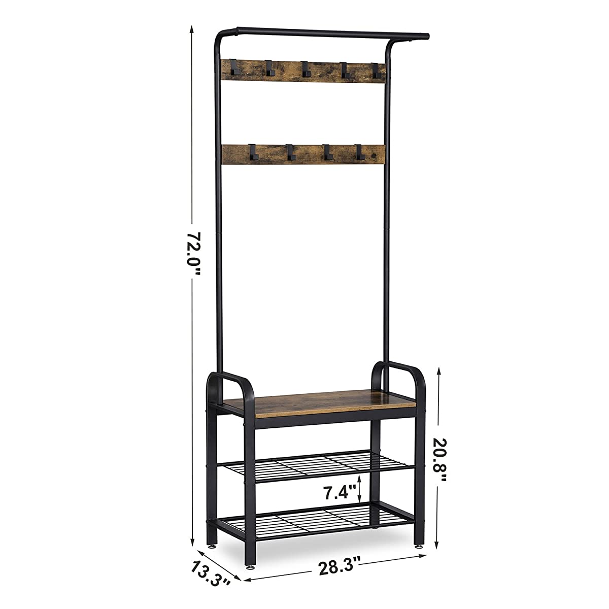SONGMICS Vintage Coat Shoe Rack, Hall Tree Entryway Storage Shelf, Wood Look Accent Furniture with Metal frame, 3 in 1 Design, Easy Assembly UHSR40B