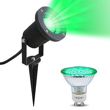 LED Garden Spike Green Light GU10 Outdoor IP65 Black Spike With 4w Green LED