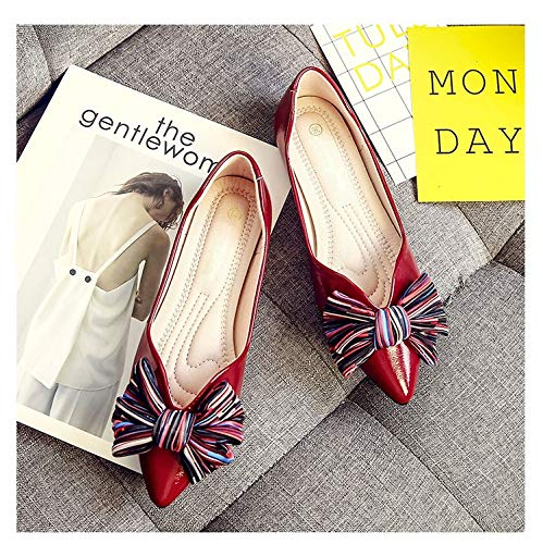 Comfort Slip Da On Knot colore Dimensione Eu Shoes 39 Ballerine Nero Donna Zhrui Rosso xq6YIY