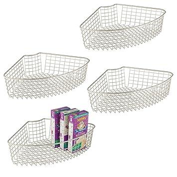 mDesign Juego de 4 cestas de almacenaje para armarios - Cesta de ...