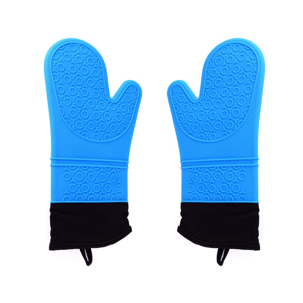 Durable Silicone Oven Mitts with Quilted Cotton Lining for Barbecue, Cooking and Baking - 1 Pair (Blue)