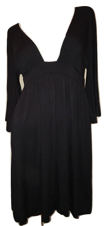 Tart Women's Flutter Sleeve A-Line Jersey Dress Black Size Small
