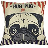 Luxbon - Machine Washable Cotton Linen Sofa Couch Chair Throw Pillowcase Cushion Cover Decorative Insert Not Included - Lovely Hug Pug Dog