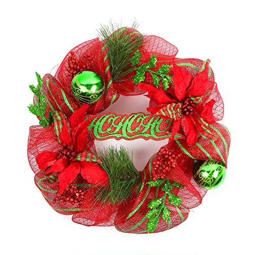 Naice Polyester Christmas Festival Wreath with Pine Tips, Poinsettia, Holly Leaves, Christmas Balls, Ho-ho-ho 20-inch