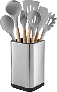 "Stainless Steel Kitchen Utensil Holder, Kitchen Caddy, Utensil Organizer, Modern Rectangular Design, 6.7"" by 4"""