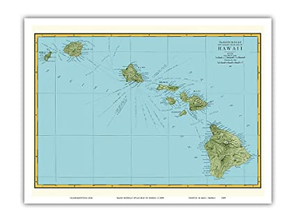 image regarding Printable Map of Hawaii referred to as Rand McNally Atlas Map of Hawaii - Traditional Hawaiian Coloured Cartographic Map c.1898 - Find out Artwork Print - 9within x 12in just