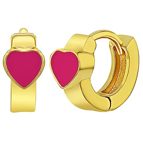 a5c586491 Image Unavailable. Image not available for. Color: 18k Gold Plated Hot Pink  Enamel Heart Huggie Hoop Infants Girls Earrings 8mm
