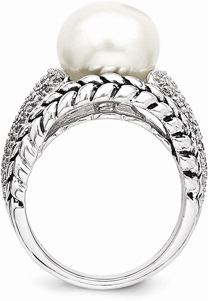 Diamond Ring Sterling Silver 11.5mm Freshwater Cultured Pearl and 1 and 10ct