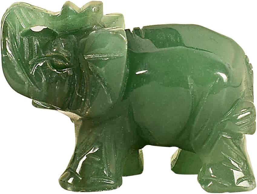 Merssavo 1.5 Pulgadas Tallado a Mano Verde Aventurina Jade Stone Craving Lucky Elefante Feng Shui Estatua