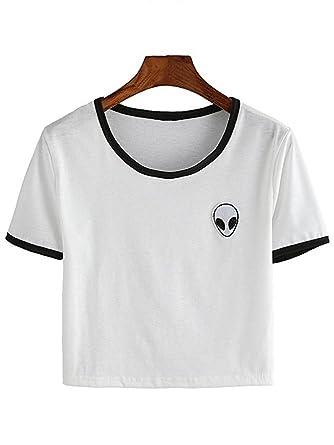 abf5c50afc653 Femmes Fille 3D Alien Embroidery T-Shirt Débardeur Haut Manches ...