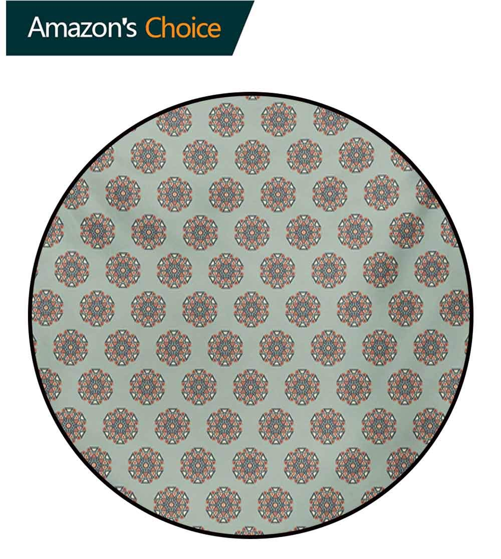 RUGSMAT Ethnic Art Deco Pattern Non-Slip Round Area Rug,Artistic and Abstract Round Floral Motifs Mandala Inspired Retro Style Native Design Foam Mat Bedroom Decor Bedroom,Diameter-55 Inch