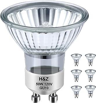 H&Z GU10 Bulb, High Brightness gu10+c 120v 50w Halogen Light Bulbs, 2800k Warm Light, gu10 Dimmable with Glass Cover for Range Hood Light Bulbs, TrackLightBulbs
