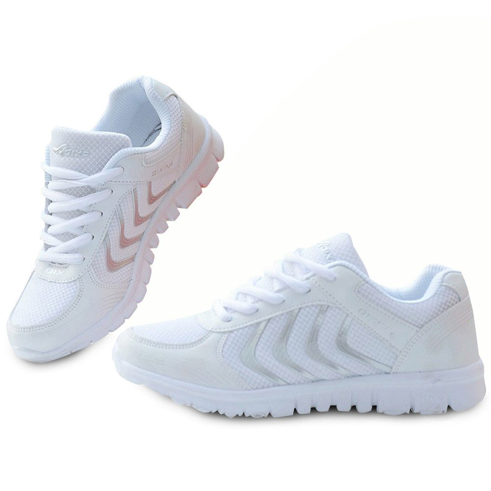 Alicegana Women's Breathable Mesh Tennis Athletic Lace up Fashion Walking Comfort Lightweight Running White Sneakers Sports Shoes