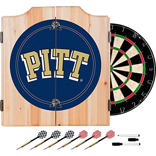 University of Pittsburgh Deluxe Solid Wood Cabinet Complete Dart Set - Officially Licensed! by TMG
