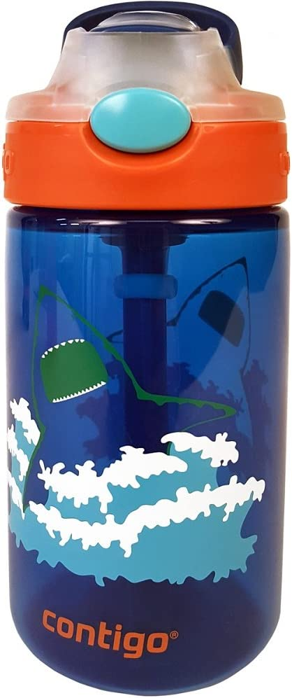 Contigo AUTOSPOUT Straw Gizmo Flip Kids Water Bottle, 14 oz, Blue