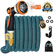 """#LightningDeal JOOIKOS Expandable Garden Hose 50ft - Flexible Water Hose with 10 Functions Spray Nozzle and Durable Triple Latex Core with 3/4"""" Solid Brass Fittings/Strength Stretch 3750D Fabric for Watering/Washing"""