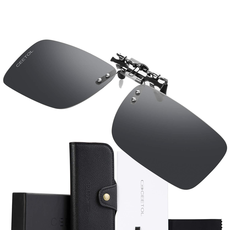 Polarized Clip-on Sunglasses For Men Women,Metal Frameless Rectangle Lens Over Prescription Glasses With Flip Up Function For Driving Fishing Outdoor Sport