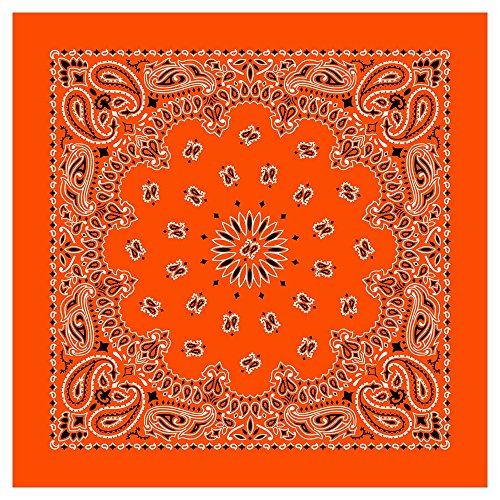 "100% Cotton Western Paisley Bandanas (22"" x 22"") Made in USA - Orange Single Piece 22x22 - Use For Handkerchief, Headband, Cowboy Party, Wristband, Head Scarf - Double Sided Print"