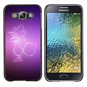 KLONGSHOP // Cubierta de piel con cierre a presión Shell trasero duro de goma Protección Caso - Pájaro púrpura - Samsung Galaxy E5 E500 //