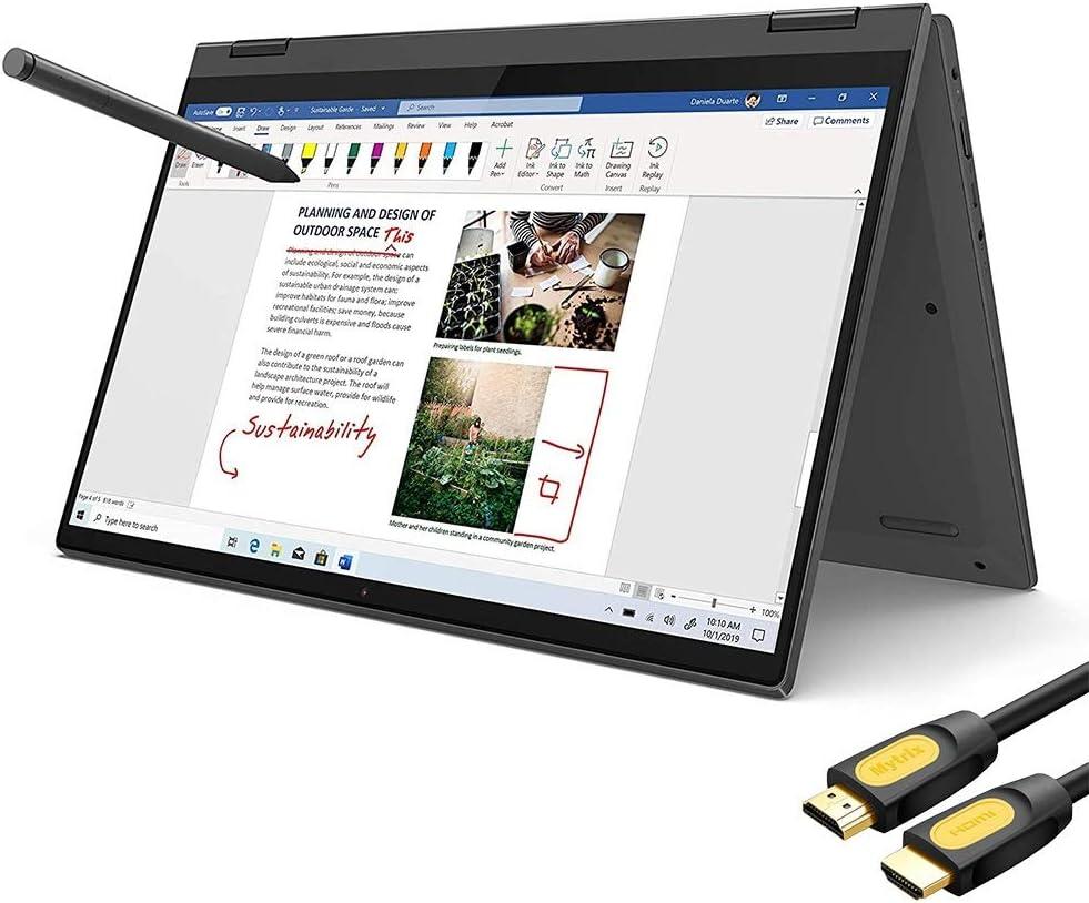"Lenovo Flex 5 2-in-1 Touchscreen Laptop 14"" FHD AMD Ryzen 5-4500U 4.0 GHz 16GB DDR4 RAM 512GB SSD FP Reader Backlit KB Type-C HDMI WiFi Webcam Digital Pen Mytrix HDMI Cable Win 10"