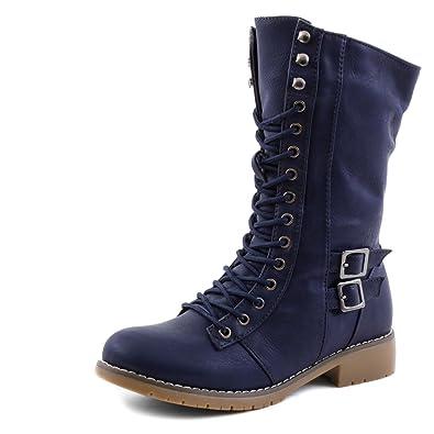 87a6c42ad8f662 Damen Winter Schnür Boots Stiefel Schuhe gefüttert in Lederoptik Navy 36