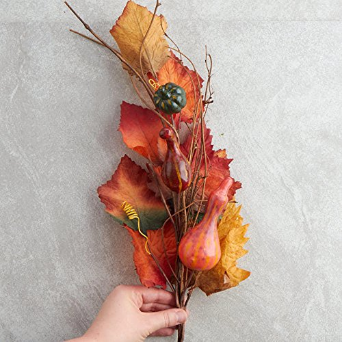 Factory Direct Craft Group of 4 Fall Colored Artificial Gourd and Leaf Sprays for Home Decor, Crafting and Displaying