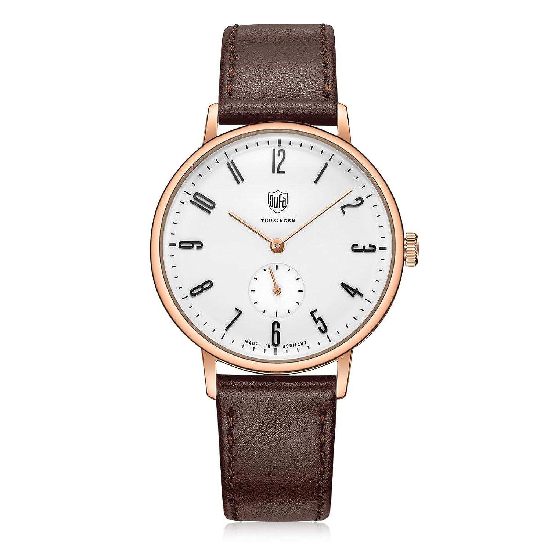 Dufa Deutsche Uhrenfabrik Unisex-Armbanduhr Analog Quarz Leder Walter Gropius DF-9001-05