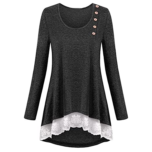 9fa000a01f95 Image Unavailable. Image not available for. Color: YKARITIANNA Womens Girls  Lace Pure Color Long Sleeve V-Neck Elegant T-Shirts Casual