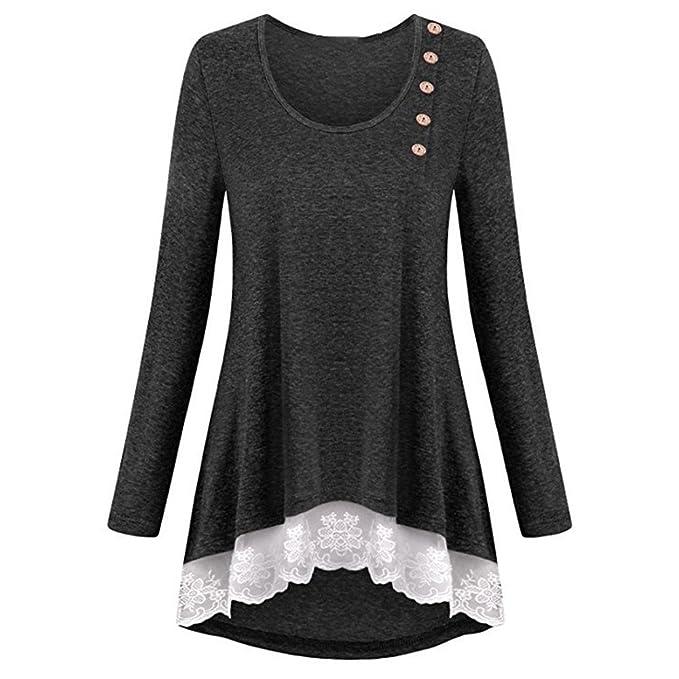 FAMILIZO_Camisetas Mujer Cordón Camisetas Mujer Verano Tops Mujer Primavera Camisetas Mujer Largas 2018 Otoño Camisetas Mujer Manga Larga Algodon Mujer ...