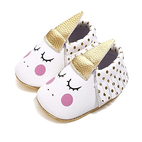 4aefa47d988 Bebila Unicorn Baby Moccasins Pu Leather Soft Sole Newborn Princess Babe Girls  Shoes(US 3