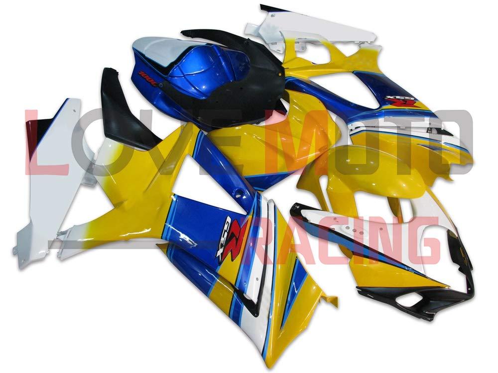 LoveMoto ブルー/イエローフェアリング スズキ suzuki GSXR1000 GSXR 1000 2007 2008 K7 07 08 GSX R1000 K7 ABS射出成型プラスチックオートバイフェアリングセットのキット イエロー ホワイト   B07KG2C13L