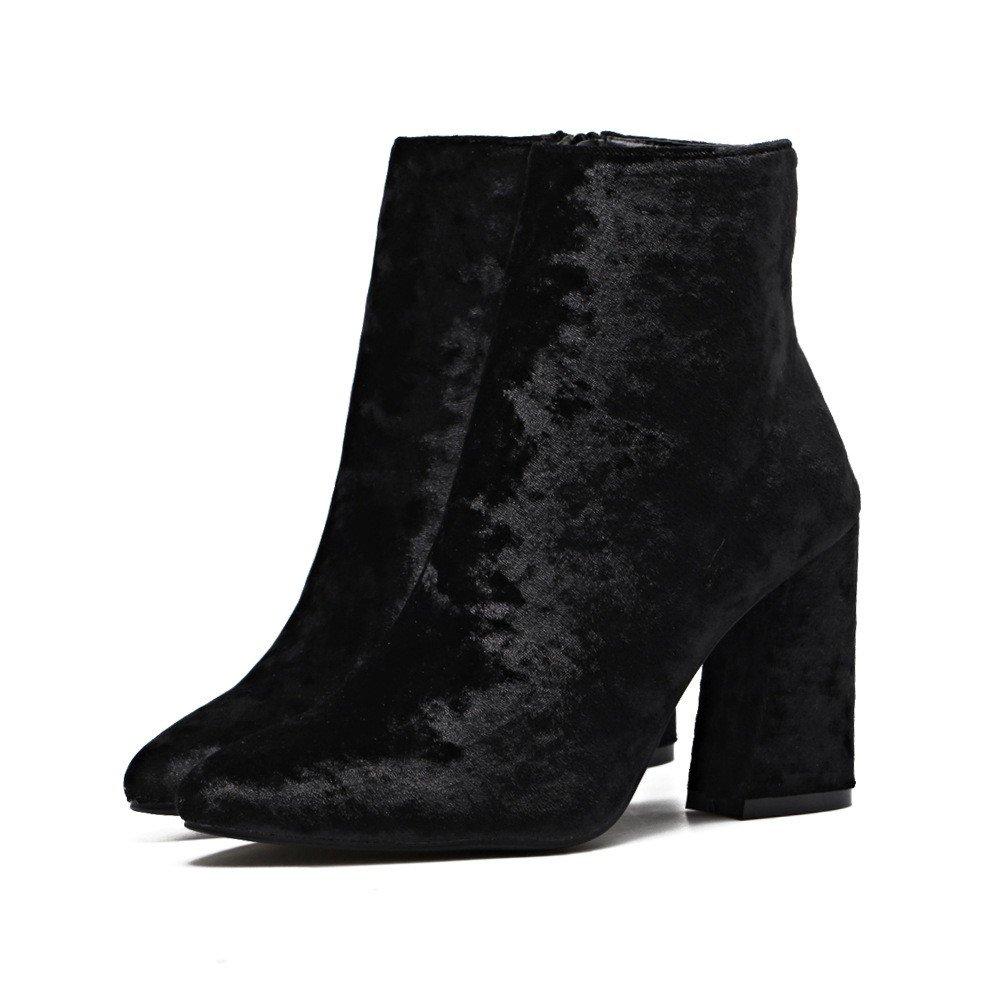 SchuheES Weiblicher Hochwertiger Goldfarbener Samt Wies Hochhackige Stiefel auf Schwarz 38