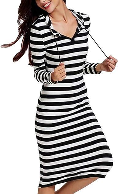 XGBDTJ Vestidos con Capucha Damas Oto/ño Invierno Sudaderas Larga Casuales Manga Vestidos Vida de la Moda Largos Elegante Suelta Color S/ólido Vestidos Largos Vestidos Ocasionales
