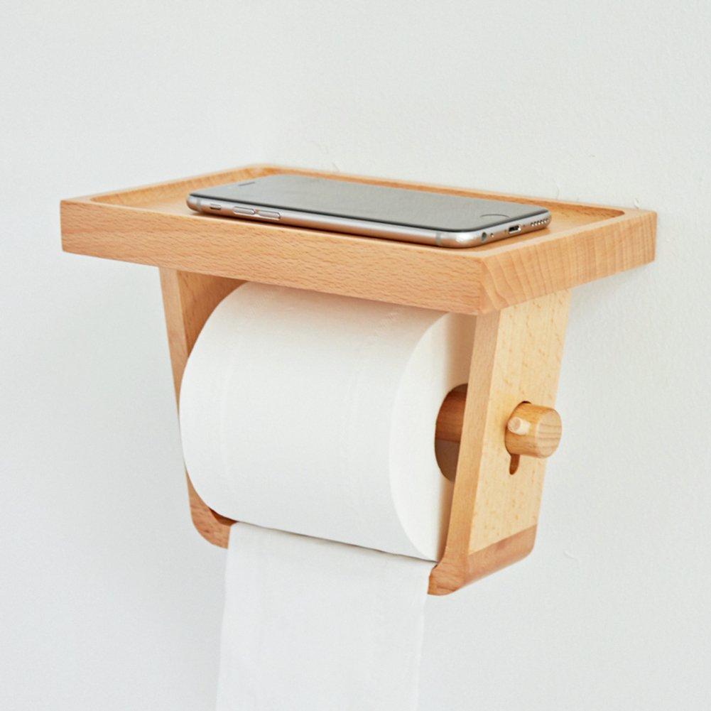 Soporte para papel higi/énico Impermeable Soporte de portarrollos Montaje en pared Estante del almacenaje Con esencias creativas-Madera