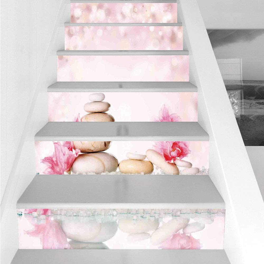 Stair Stickers Wall Stickers,6 PCS Self-adhesive,Spa,Bohemian Zen Stones and Soft Petals Therapy Tradition Chakra Yoga Asian Picture,Light Pink Peach,Stair Riser Decal for Living Room, Hall, Kids Room