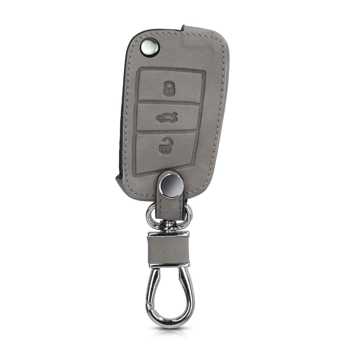kwmobile Funda para VW Golf 7 MK7 - Carcasa de Piel de Nobuck sintética para Mando de Coche Llave de 3 Botones para Coche VW Golf 7 MK7 - Gris