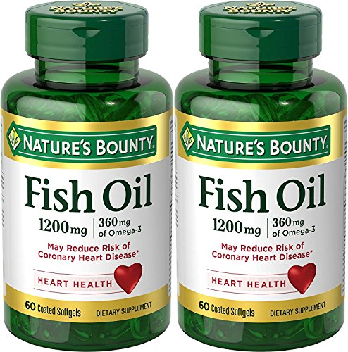 Nature's Bounty Odorless Fish Oil 1200mg, Omega 3, 120 Softgels (2 X 60 Count (Softgels 60 Count Bottle)