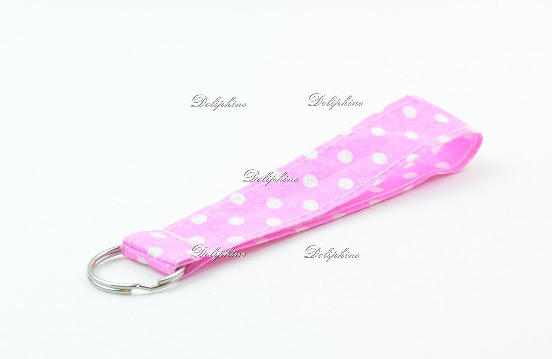 Polka Dots Print Wristlet Fabric Lanyard Key Chain for ID Badge Holder Key Purse USB Black Key fob