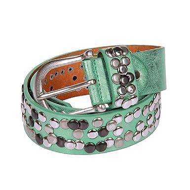 a8c756dd59b95 55033 Leder Gürtel silber Sommer Farben Nieten Vintage Style alle Grössen Damengürtel  kürzbar (90
