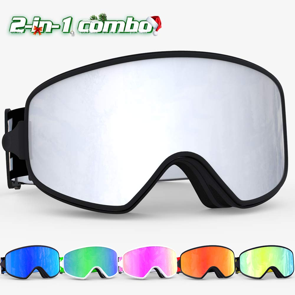 COPOZZ Ski Goggles, G1 OTG Snowboard Snow Goggles for Men Women Youth Anti-Fog UV Protection, Polarized Lens Available (MX Silver Ski Goggles (VLT 8%), MX Ski Goggles) by COPOZZ