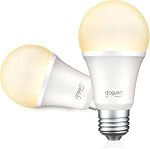 Alexa Smart Light Bulbs 75W Equivalent E26 8W Gosund Upgraded Led WiFi Bulb A19 Dimmable Works with Amazon Echo Google Home, No Hub Required Warm White 2 Pack, 2.4Ghz WiFi Only