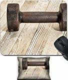 MSD Mouse Wrist Rest and Small Mousepad Set, 2pc Wrist Support design 19323232 vintage iron rusty dumbbells weathered white painted barn wood fitness concept