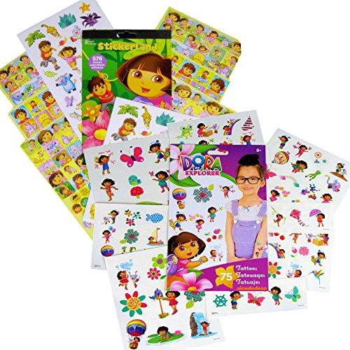 Dora the Explorer Stickers & Tattoos Party Favor Pack (200 Stickers & 75 Temporary -