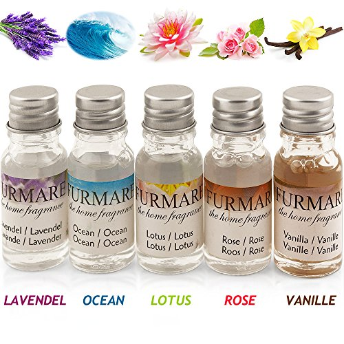 Duftöl, Aromaöl, Parfumöl für Wasserverdunster, Aroma Diffusor, Duftdiffusor, 5 Stück á 10ml Lavendel, Vanille, Rose, Ozean, Lotusblüte