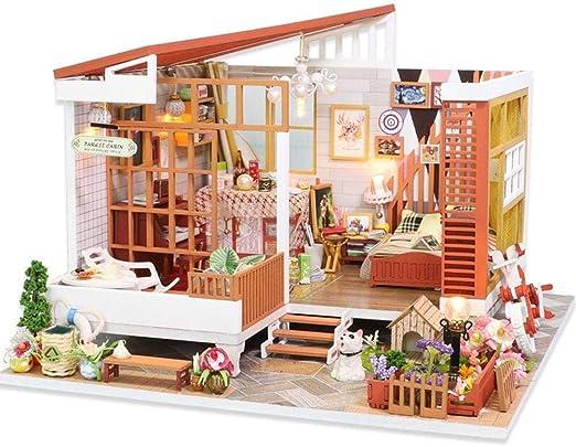 Casas de muñecas,Kit de Modelo de casa de Bricolaje con luz LED,Dream House Miniatura Dollhouse para niños y Adultos Regalo de cumpleaños de Navidad: Amazon.es: Hogar