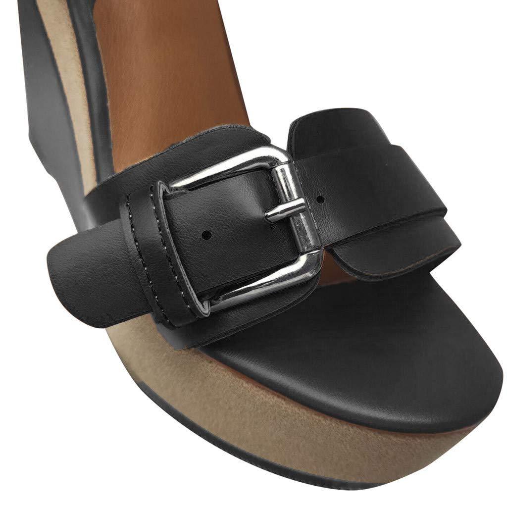 Wedge Platform Sandals for Women,FAPIZI New Comfy Soft Soles Dancing Shoes Casual Breathable Modern Sandals Black by FAPIZI Women Shoes (Image #3)