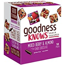 goodnessKNOWS Mixed Berries, Almond & Dark Chocolate Gluten Free Snack Square Bars 18-Count Box