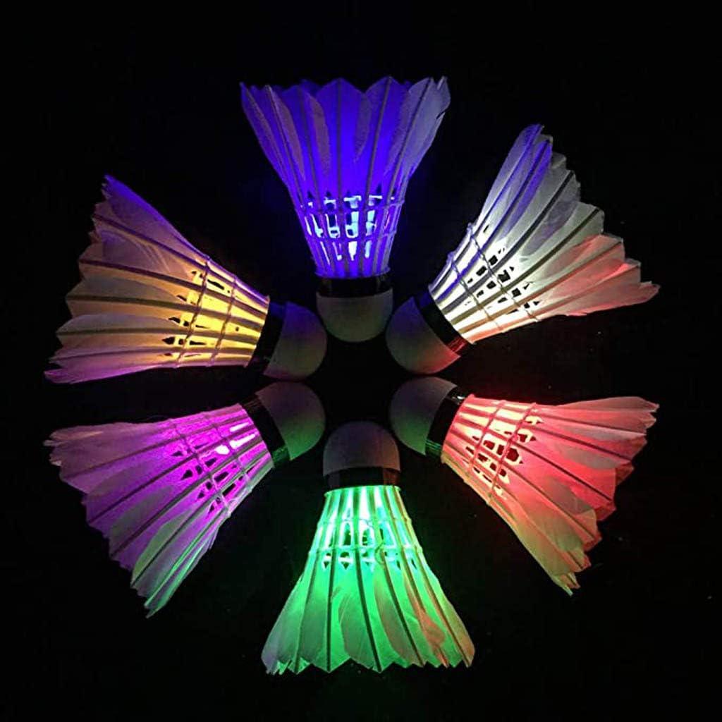 ONTO-MATO 6Pcs Multicolor LED Badminton Shuttlecocks Lighting Birdies backyards Glowing shuttlecocks for badmitton