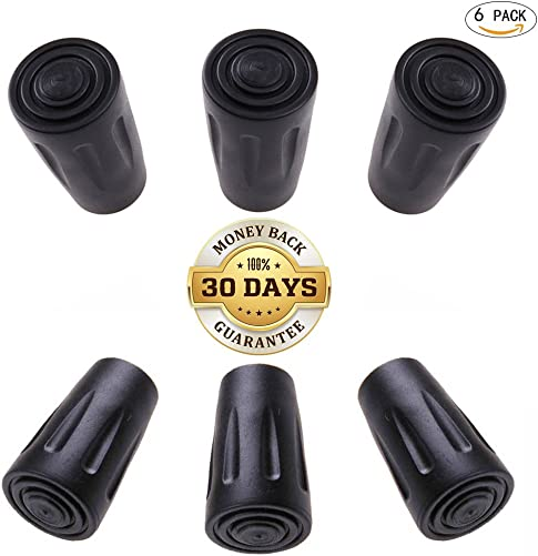 CLINE Trekking Pole Tips Protectors,Replacement Rubber Tips Fit Most Standard Hiking Trekking Walking Poles,Black Pack of 6